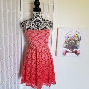 Deb Size L Juniors Orange Strapless Dress